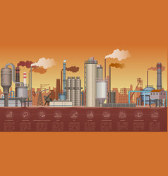 Heavy industrial factory buildings landscape vector