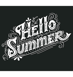 Hello summer Hand drawn vintage lettering with vector