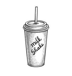 ink sketch milkshake vector image