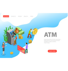 Isometric flat landing page template atm vector