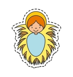 Jesus baby manger character vector