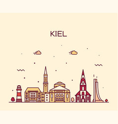 kiel skyline schleswig holstein germany art vector image
