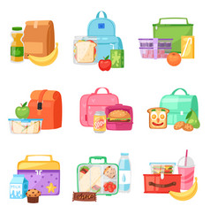lunch box school lunchbox with healthy food vector image