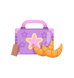 Lunch box with cookie and croissants healthy food vector