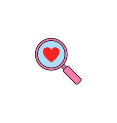 Magnifier with heart solid icon love searching vector
