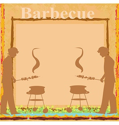 man cooking on his barbecue - Invitation card vector image