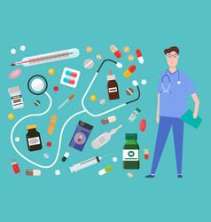 medicine pharmacy hospital set medicines in vector image