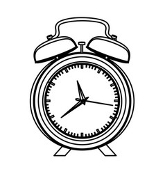 Monochrome contour with alarm clock vector