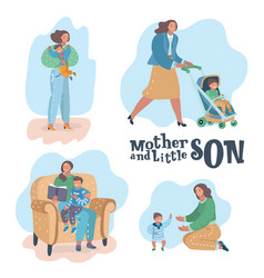 mother and son scenes vector image