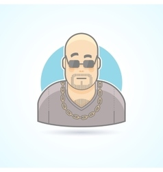 Nightclub bouncer security chief bodyguard icon vector image