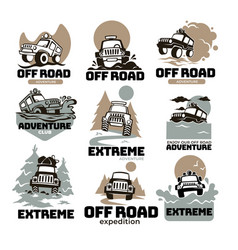 Off road extreme expedition and adventure labels vector