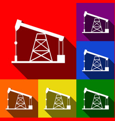 oil drilling rig sign set of icons with vector image