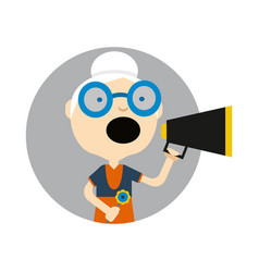 Old lady with megaphone round avatar icon vector