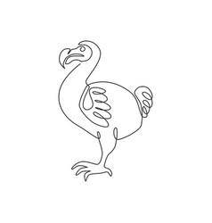one single line drawing adorable fun dodo bird vector image