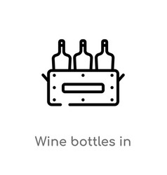 Outline wine bottles in a box icon isolated black vector