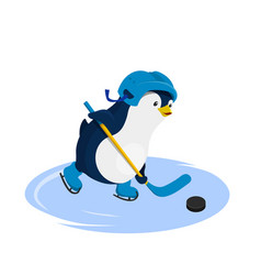 penguin in helmet playing hockey vector image