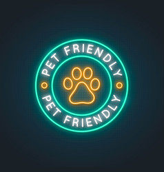 pets allowed neon light sign bright pet friendly vector image