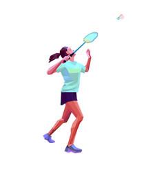 Polygonal professional female badminton player vector