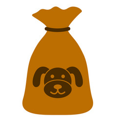 Puppy sack flat icon vector