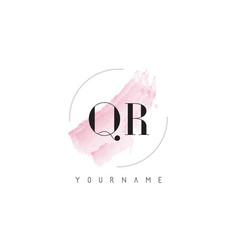 qr q r watercolor letter logo design with vector image