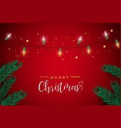 red christmas card with lights and pine tree vector image