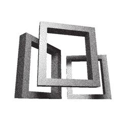 Retro rectangular frames with dotwork shadows vector