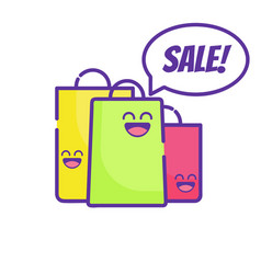 Sale cute market bag thin line icon art vector