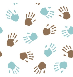 seamless pattern - imprint hands vector image vector image