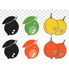 Set citrus lemon fruit flat color icon vector