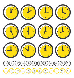 set clocks icons for every hour isolated vector image