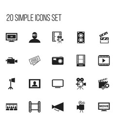 Set of 20 editable movie icons includes symbols vector
