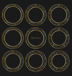 set of golden decorative round frames vintage vector image