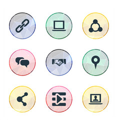 Set simple media icons vector