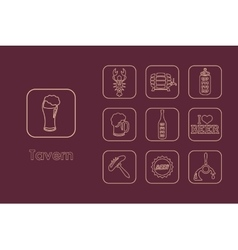 Set tavern simple icons vector
