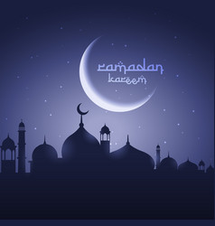 Shining moon with mosque eid festival greeting vector