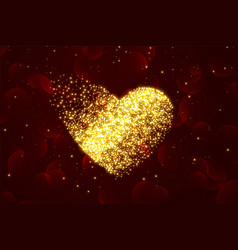 shiny particle hearts background for valentines vector image