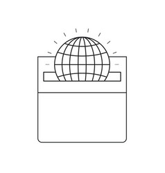 Silhouette front view flat globe earth world chart vector