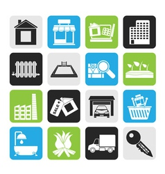 Silhouette real estate and building icons vector