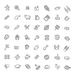 simple set meat related line icons vector image