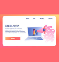 social media horizontal banner girl with megaphone vector image