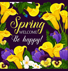 Spring holiday greeting card with flower frame vector