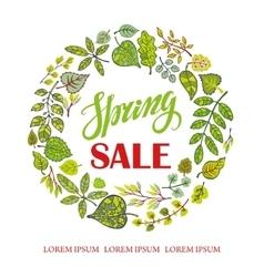 Spring SaleGreen Leaves wreathtitles vector image