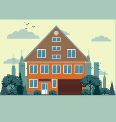 Suburban house cottage with garden on background vector