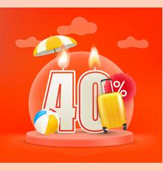 Summer season sale discount 40 percent sale vector