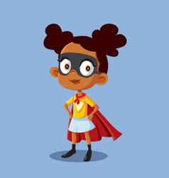 Superheroine african girl cartoon vector
