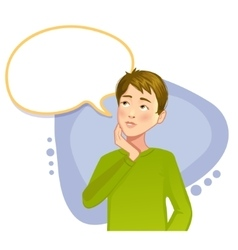 Thinking boy with speech bubble vector image