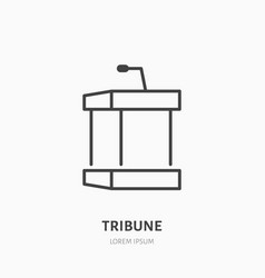 tribune flat line icon podium event equipment vector image