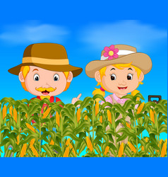 Two farmers in a corn field vector