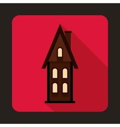 Two storey cottage icon flat style vector image