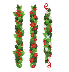 vertical holly plant borders with red berries and vector image